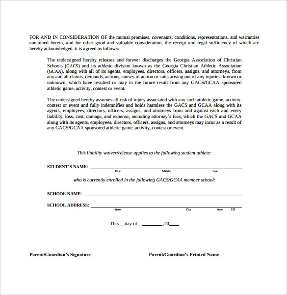 download liability waiver form