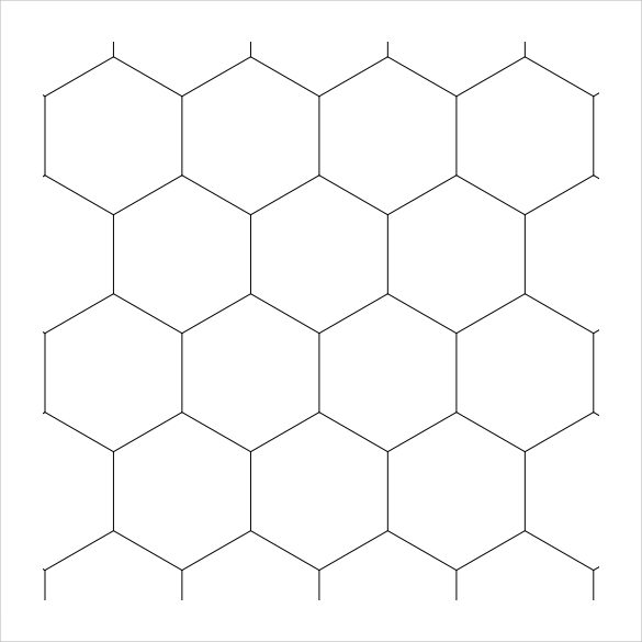 hexagonal graph paper template with numbers