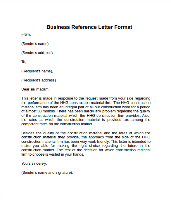 Reference Letter Format Example  Format For Letter Of Reference