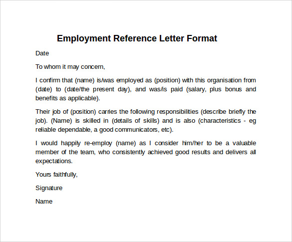Sample Reference Letter Format   Download Free Documents In Pdf