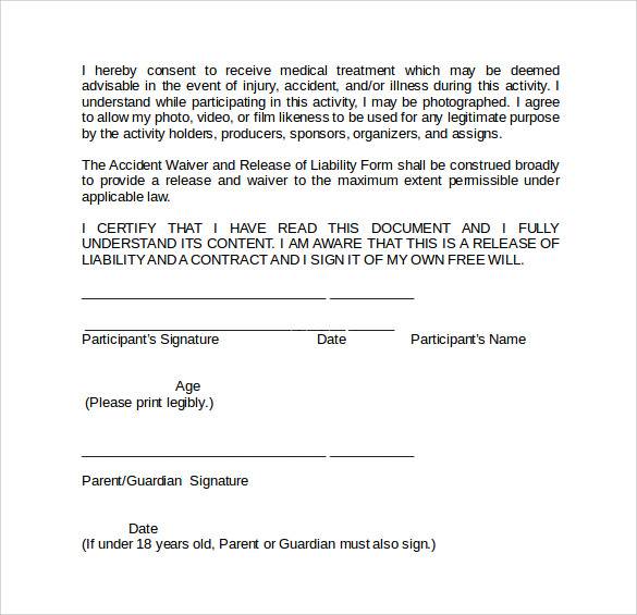 Sample Liability Waiver Form 9 Download Free Documents In PDF Word – Liability Release Form