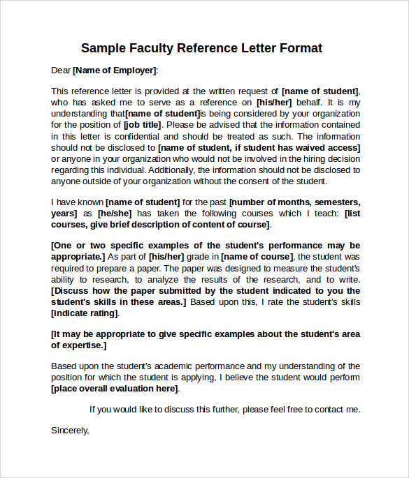Faculty Position Reference Letter Sample