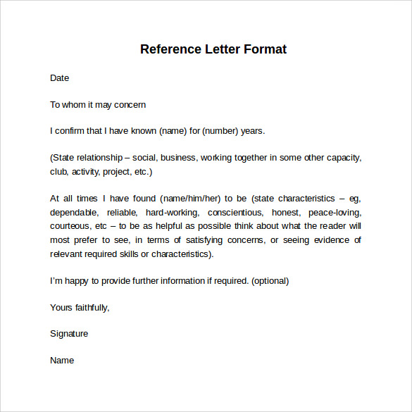 Sample Reference Letter Format 7 Download Free Documents in PDF – Reference Letter