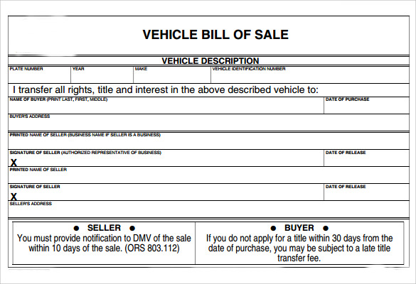 Sample Vehicle Bill Of Sale Form   Download Free Documents In