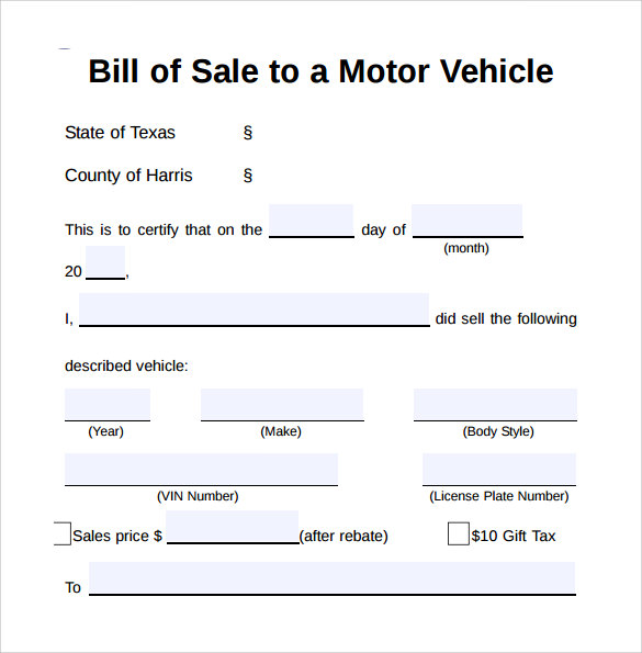 Sample Vehicle Bill Of Sale Form   Download Free Documents In Pdf