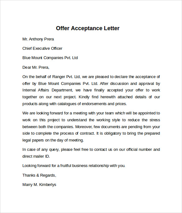 Letter Of Offer Product Sample