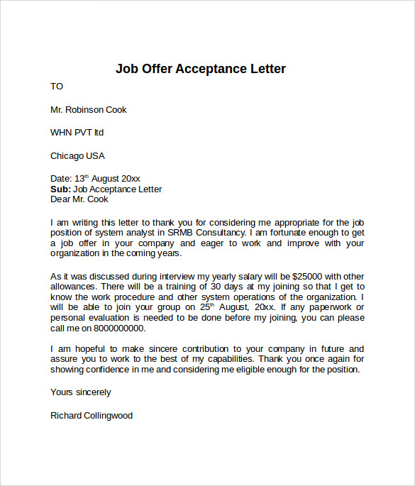 job offer acceptance letter with conditions 9 sample offer acceptance letters to sample 24834 | Offer Acceptance Letter Example