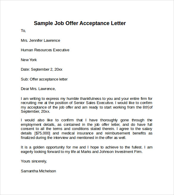 job offer acceptance letter with conditions 9 sample offer acceptance letters to sample 24834 | Sample Job Offer Acceptance Letter