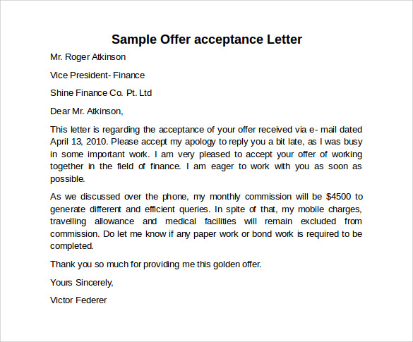 Sample Offer Acceptance Letter   Download Free Documents In Pdf