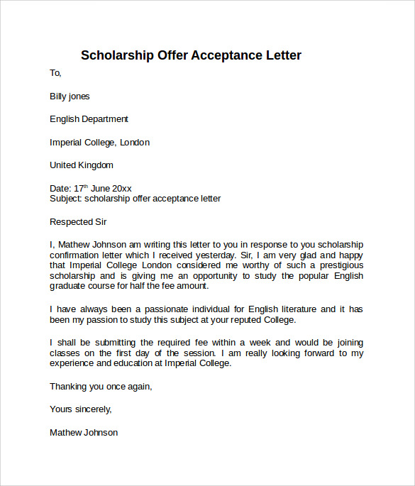 Scholarship Offer Letter Example