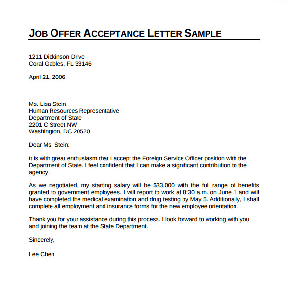 sample offer acceptance letter