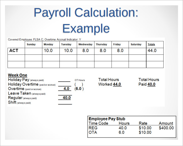 Payroll Timesheet Calculator 6 Download Free Documents in PDF – Sample Payroll Timesheet Calculator