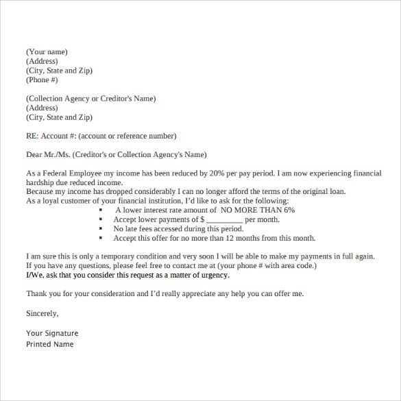 Financial Hardship Letter For College 52