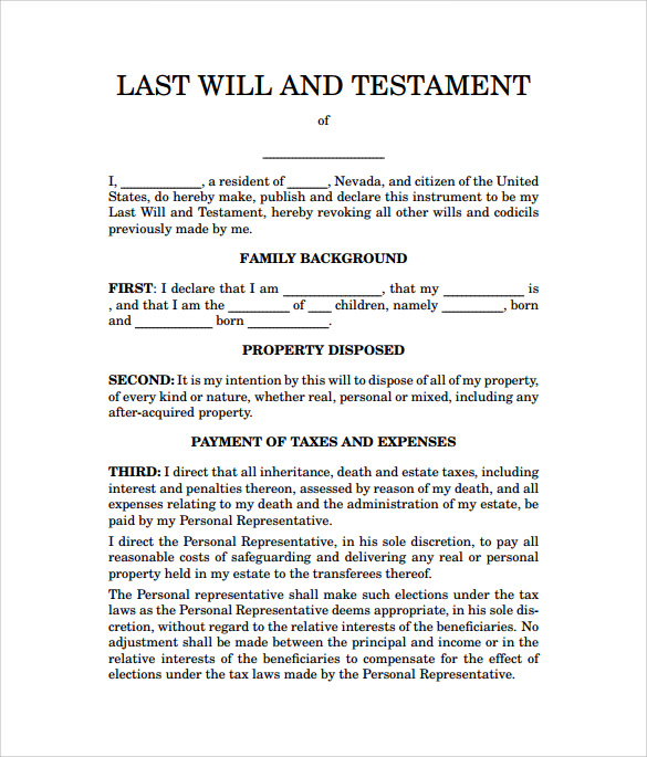Sample Last Will And Testament Form   Documents In Word Pdf
