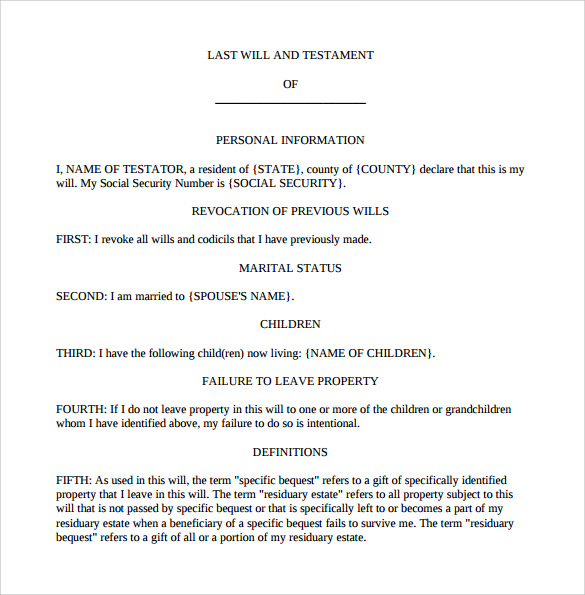 last will and testament form to download