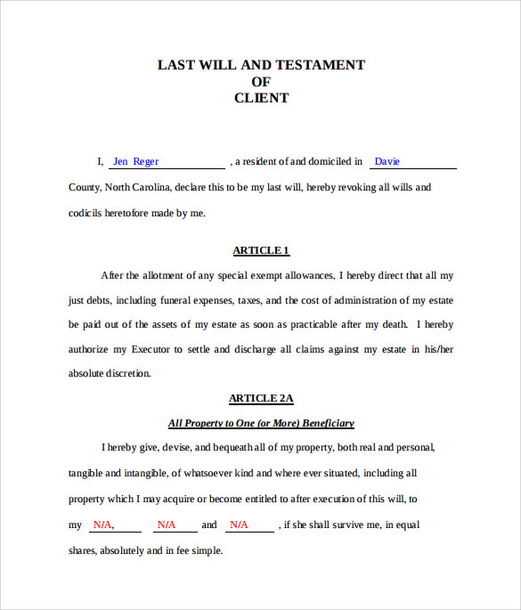 Last will and testament form 8 download free documents for Easy last will and testament free template