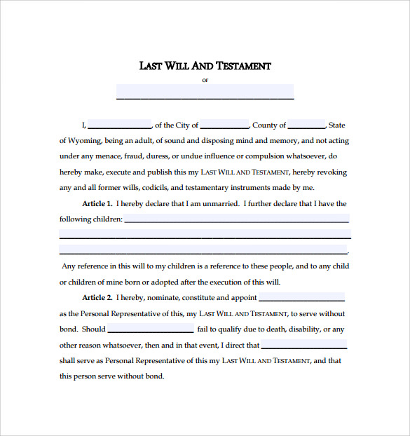 Last Will And Testament Form Us Legalcontracts   VdyuInfo