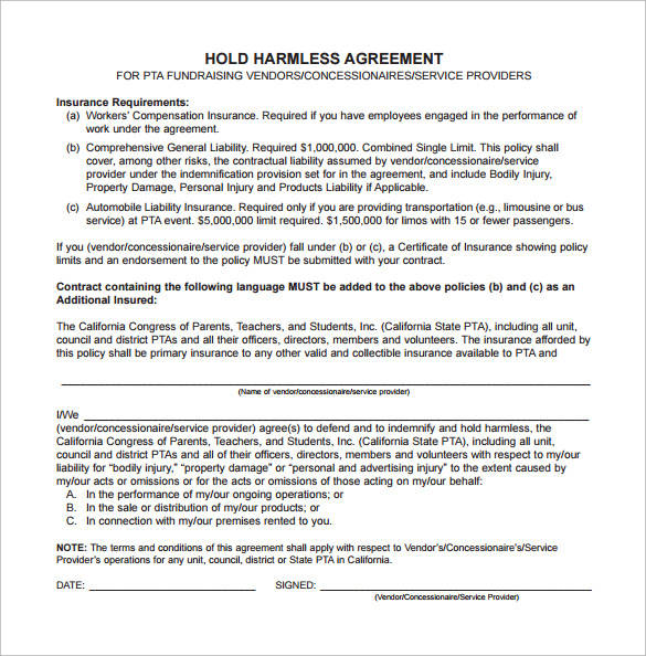 Sample Hold Harmless Agreement   Documents In Word Pdf