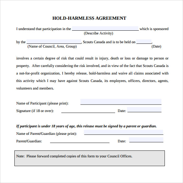 hold harmless agreement sample