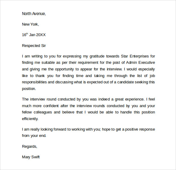 thank you letter following an interview