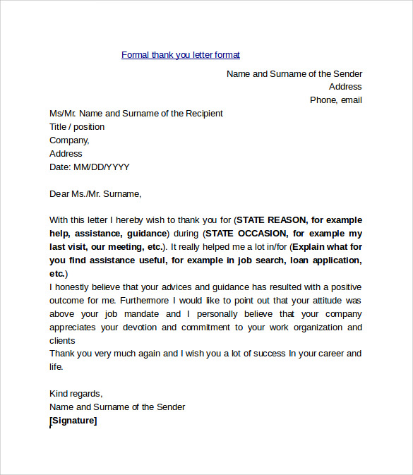 Sample Thank You Letter Format 9 Free Documents In PDF Word – Formal Thank You Letters