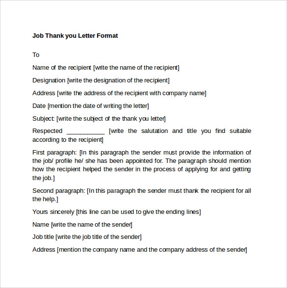 job thank you letter format