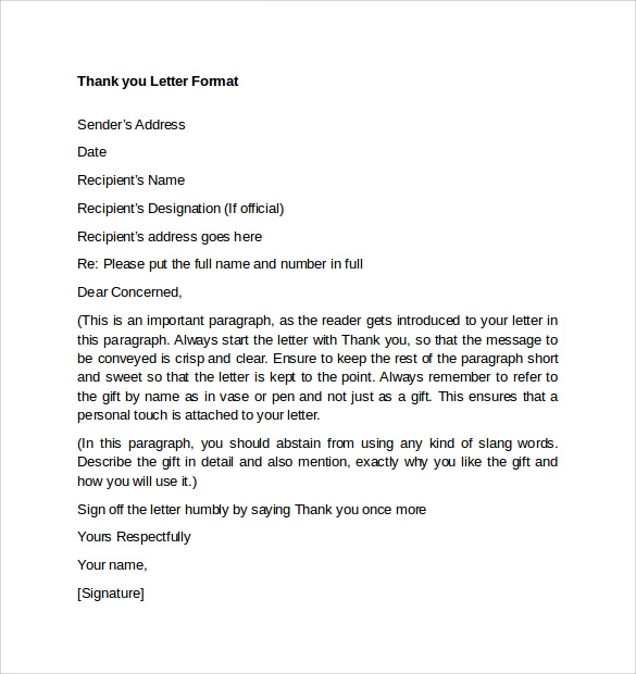Sample thank you letter format 9 free documents in pdf word thank you letter for gift format expocarfo