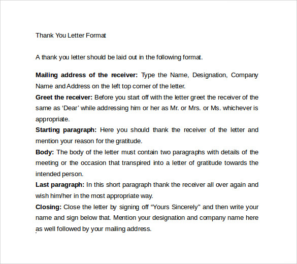 thank you letter format1