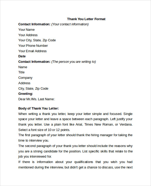 thank you letter format to download