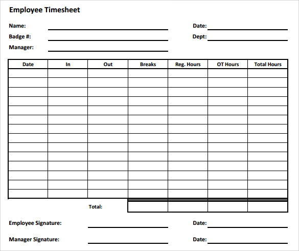 Sample Employee Timesheet Calculator   Documents In Pdf Excel