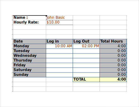 employee timesheet excel