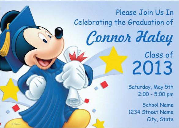 mickey graduation paper invitation