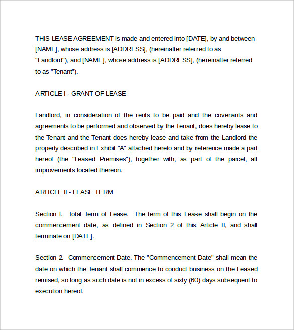 free commerical lease agreement