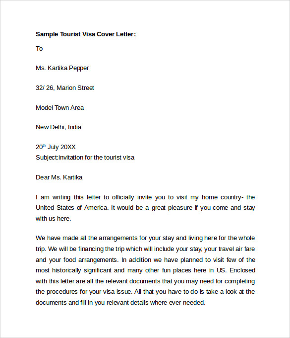 personal cover letter for visa application