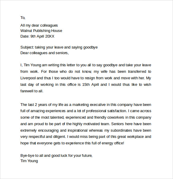 Sample Farewell Letters to Coworkers 12 Documents in Word PDF – Goodbye Letter