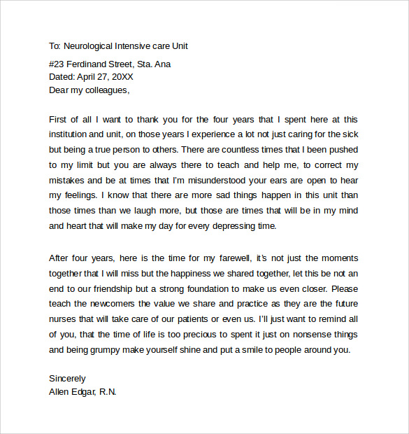 12+ Sample Farewell Letters to Co workers – PDF, Word | Sample
