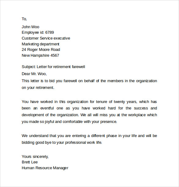 Sample Farewell Letters To Coworkers   Documents In Word Pdf