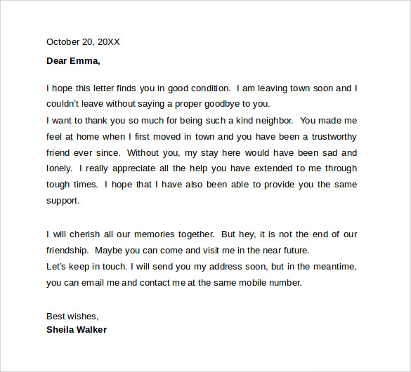 Sample Farewell Letters to Coworkers 12 Documents in Word PDF