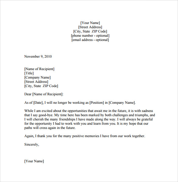 12+ Sample Farewell Letters to Co-workers – PDF, Word ...