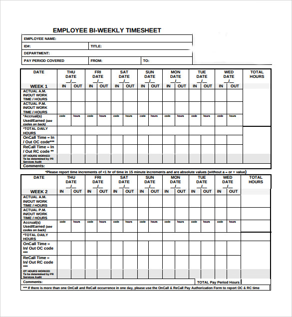 Sample Biweekly Timesheet Calculator - 6+ Documents In Word, Excel