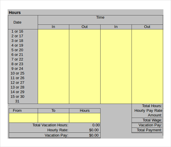 Sample Hourly Timesheet Calculator   Documents In Pdf Excel
