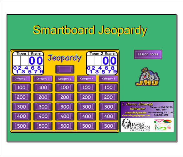 Sample Smart Board Jeopardy   Documents In Pdf Ppt