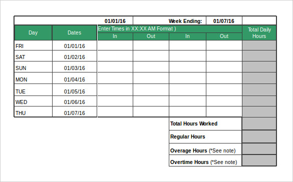 Sample Hourly Timesheet Calculator - 6+ Documents in PDF, Excel