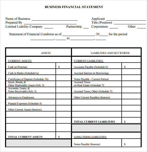 personal financial statement template – Business Statement Template