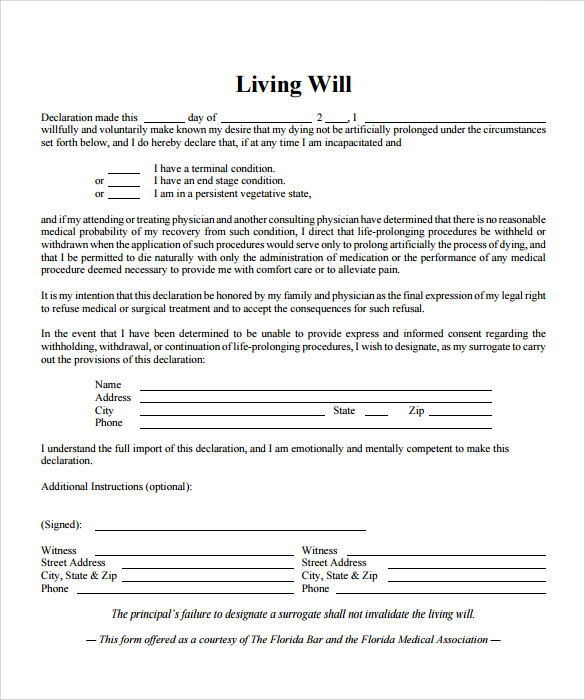 Living will template 7 free samples examples format for Free will templates online