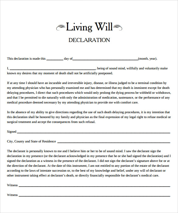 Living will template 7 free samples examples format for Writing a will template free