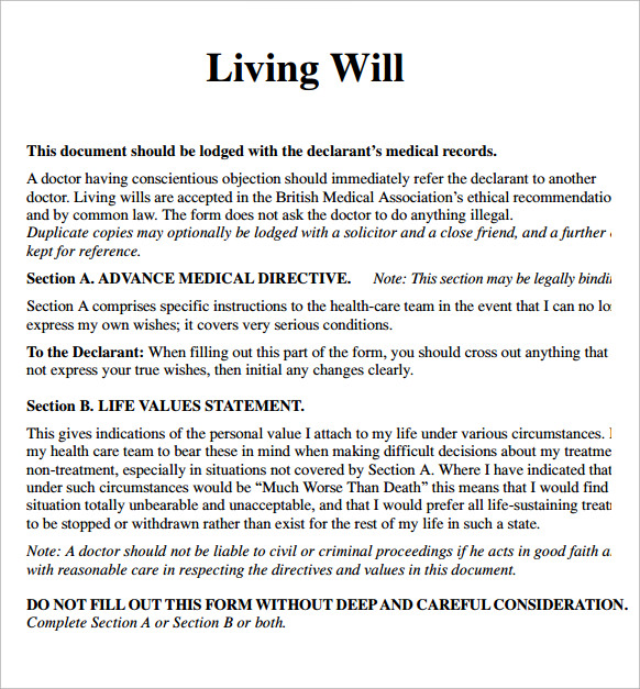 Living will for Free will templates online