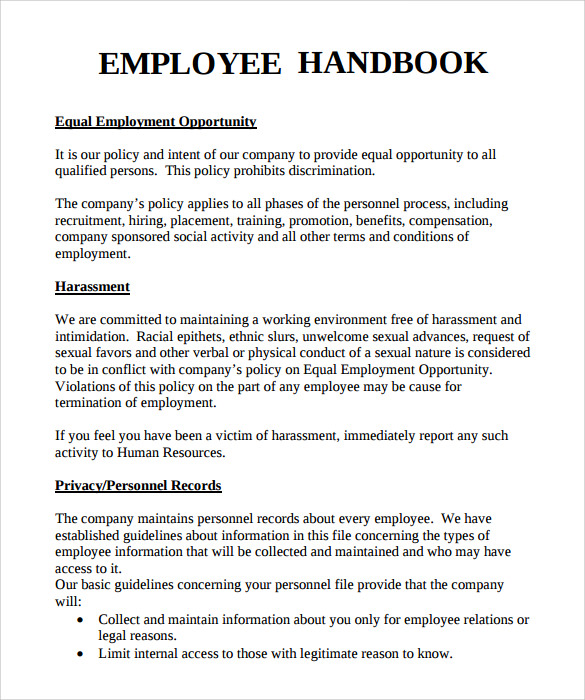 staff training manual template - 10 employee handbook sample templates sample templates