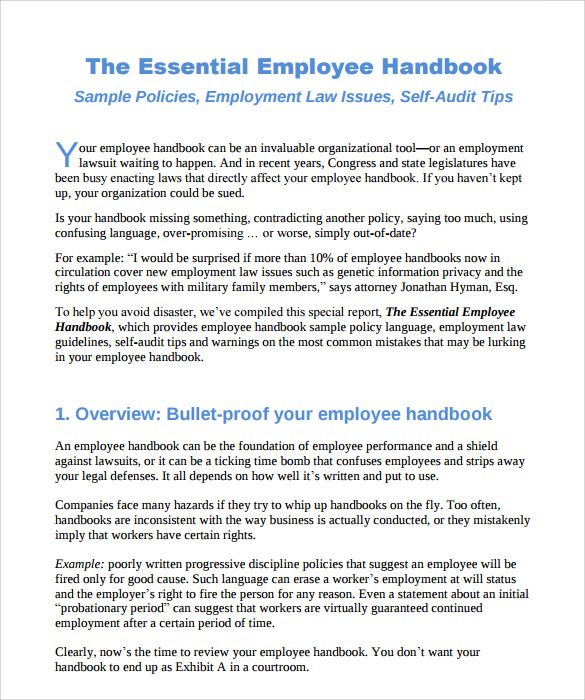Employee handbook sample 7 download documents in pdf word for Employee handbook template for small business