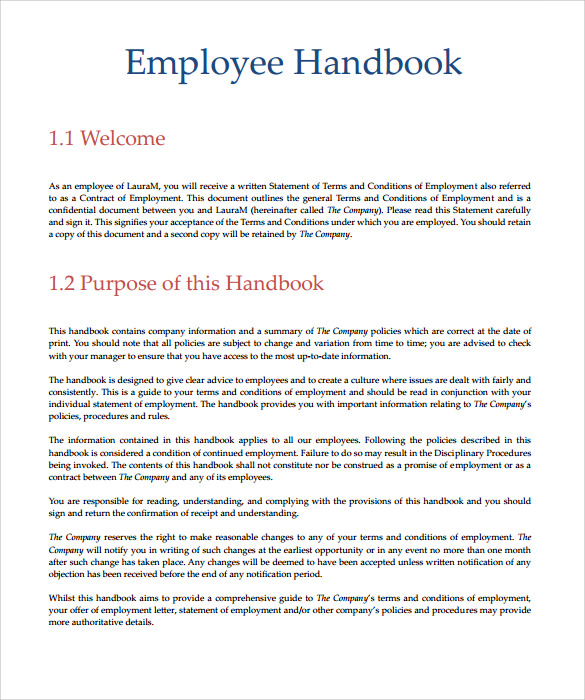 Employee handbook sample 7 download documents in pdf word for Free employee handbook template for small business